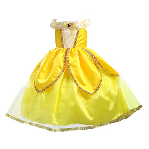 Rose Petal Place Costume (Yaphets Mall Princess Belle Costume Deluxe Party Fancy Dress Up for Girls With Tiara, Wand and Sleeves (7-8 (140cm)))