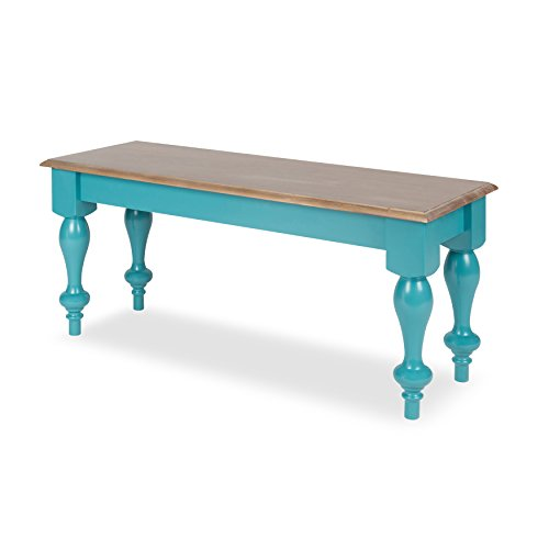 Kate and Laurel Sophia Rustic Wood Top Bench, Teal (Dining Rustic Distressed Table)