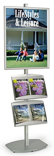 22 x 28-Inch Aluminum Poster Stand And Powder Coated Steel Literature Rack, Free-Standing, Snap-Open Frame Design by Displays2go