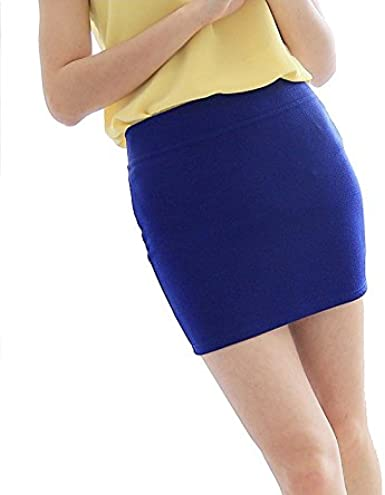 Sasairy mujeres señoras Bodycon Stretch Mini faldas algodón ...