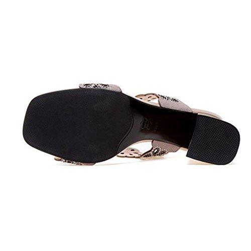 Sandals Rough Heel Slippers Female Summer Scrub Vamp Open Toe High Heel 1 b5L62h