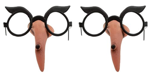 Set of 2 Halloween Witch Nose Glasses! Lensless Glasses with a Long Warty Witch Nose! Perfect for Parties, Trick Or Treating, and More! (2)