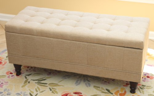 Amazon.com: Home Life Lift Top Storage Bench With Tufted Accents Beige  Fabric: Kitchen U0026 Dining