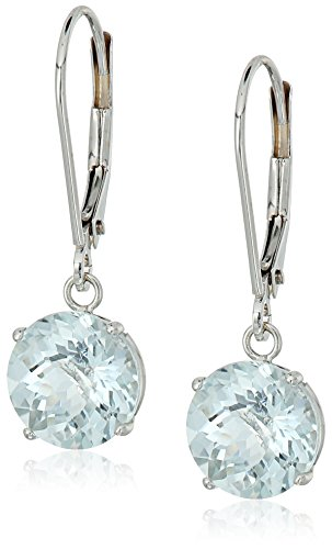 10k White Gold Round Checkerboard Cut Aquamarine Leverback Earrings (8mm)