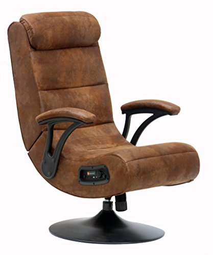 Kids Luxury 2.1 Bluetooth Faux Suede X-Rocker 360º Swivel Pedestal Office TV Video Gaming Chair with Spring Loaded Tilt, Distressed Brown (Video Tv Rocker Chair)