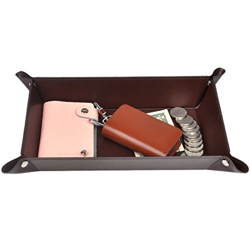 365park Valet Tray, PU Leather Catchall, Jewelry Key Wallet Phone EDC Tray for Men Women ()
