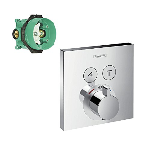 Hansgrohe K15763-01850CR-2 ShowerSelect E Thermostatic Square 2-Function Trim with Rough-In, Chrome