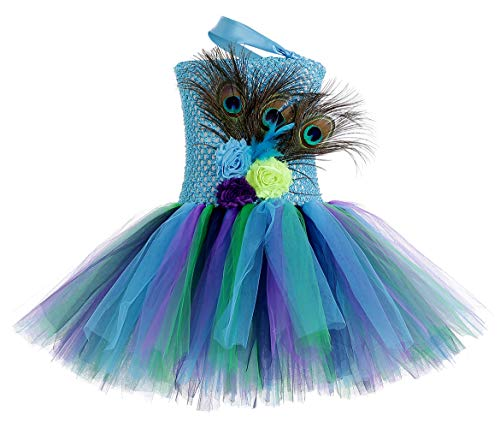 Halloween Peacock Costume for Girls Birthday Party Animal Tutu Dress Small (Girls Outfit Peacock)