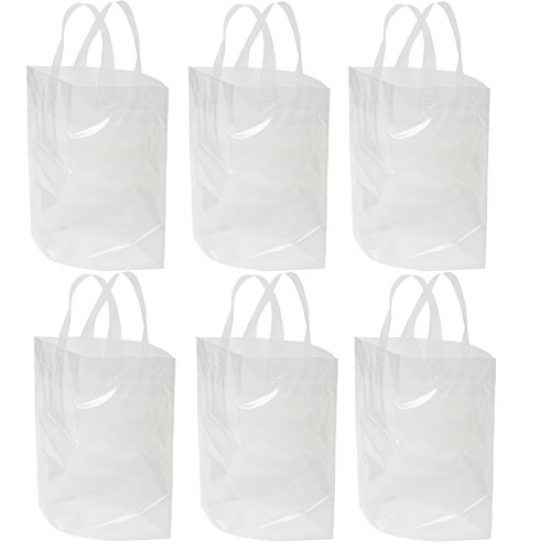 """Clear Bag with Soft Loop Handle 12"""" X 12"""" X 6"""" Thick Plastic Shopping Lunch Stadium Tote Bag, 6 Pack (Loop Clear Soft)"""