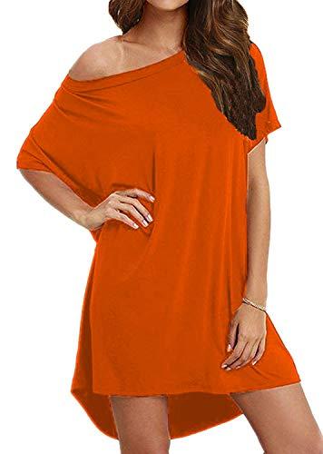 BLUETIME Women's Loose Swing Casual Short T Shirt Dress Scoop Neck Summer Tunic Dresses Orange Medium