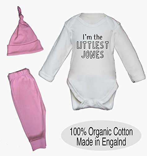 Personalised I'm the Littlest Surname Organic Baby Vest Pants and Hat Set Babygrow New Baby Gifts Personalised Cute New Clothes Baby Photoshoot 0-3 Months Pink