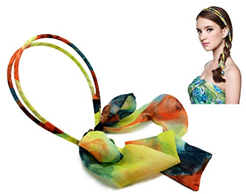 NIPOO Handmade Fashion Floral Hair Band Multi-functional Long Satin Ribbon Headband 6)