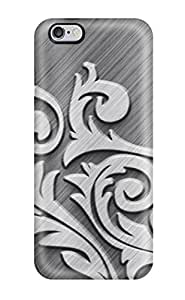 Tpu Case Cover For Iphone 6 Plus Strong Protect Case - Metallic Gray Tribal Design