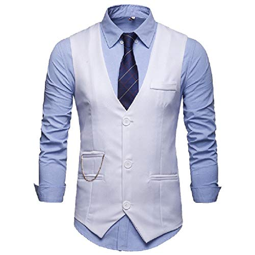 Comaba Men Blazer Skinny Trim-Fit Button V-Neck Business Dress Waistcoat White S