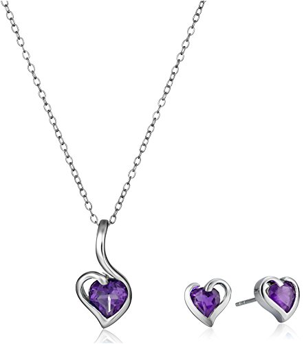 Amethyst Pendant Earrings Set (Amethyst Hearts Pendant Necklace and Earrings Jewelry Set in Sterling Silver, 18