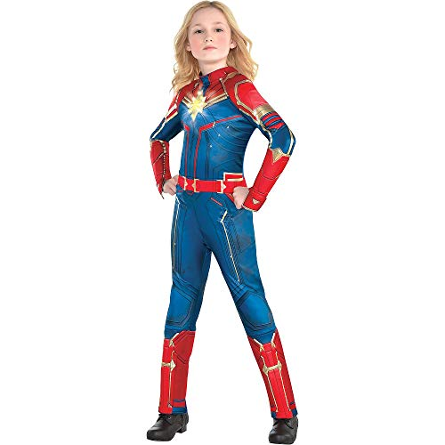 Costumes USA Light-Up Captain Marvel Halloween Costume for Girls, Superhero Jumpsuit, Medium, Dress Size 8-10 -