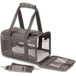 Sherpa Original Deluxe Pet Carriers With Bonus Travel Port-A-Bowl (Gray, Large)