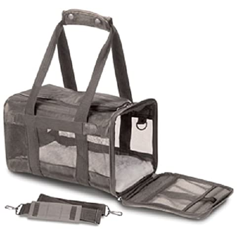 Sherpa Original Deluxe Pet Carriers With Bonus Travel Port-A-Bowl (Gray, Large) ()