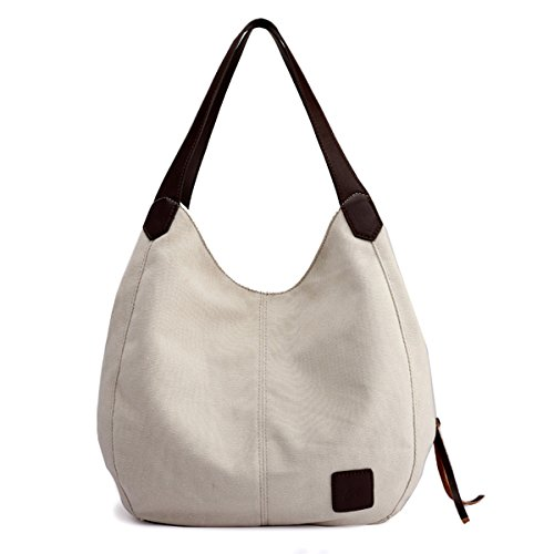 (Hiigoo Fashion Women's Multi-pocket Cotton Canvas Handbags Shoulder Bags Totes Purses (Beige))