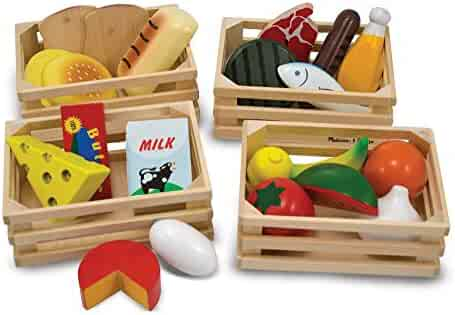 Melissa & Doug Food Groups - Wooden Play Food, Pretend Play, 21 Hand-Painted Wooden Pieces and 4 Crates, 12.5