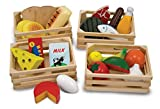 Melissa & Doug Food Groups - Wooden Play Food, Pretend Play, 21 Hand-Painted Wooden Pieces and 4 Crates, 12.5' H x 8.75' W x 12.5' L