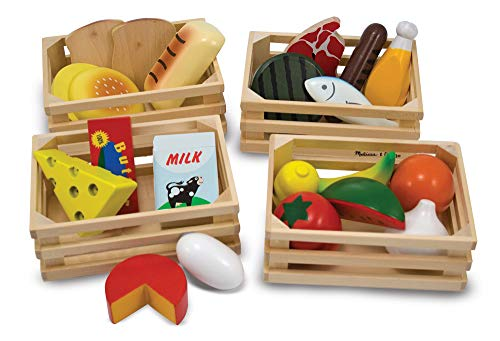 - Melissa & Doug Food Groups - 21 Hand-Painted Wooden Pieces and 4 Crates