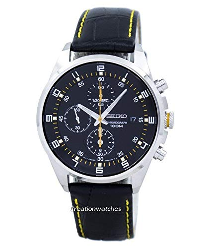 (Seiko - SNDC89P2 - Men's Watch - Quartz Chronograph - Black Dial - Black Leather Strap)
