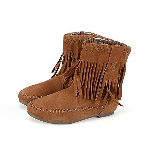 Boots Hiver A Confort Chaussure Femme Bottine Courtes Plates Ville Classique Frestepvie Khaki Frange velours Suédine Lacets Automne Bottes Doublure CXBUwxq0