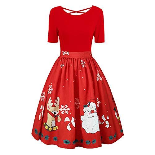 YOcheerful Halloween Women Long Sleeve Dress Pumpkin Bat Cat Swing Dress Christmas Dress (D-x-red,2XL)