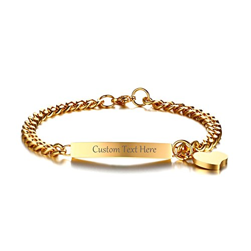 VNOX Custom Engraved Personalized ID Tag Gold Plated Stainless Steel Bar Bracelet with Heart Charm,8.0