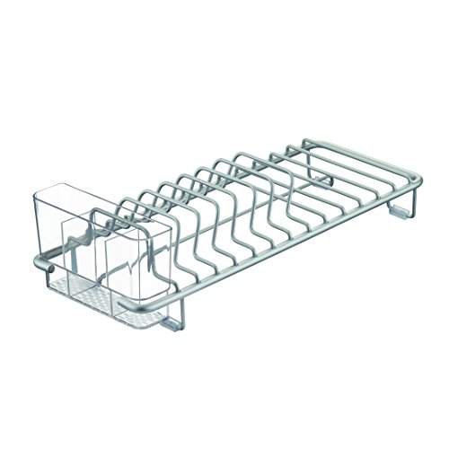 InterDesign Metro Rustproof Aluminum Compact Dish Drainer for Kitchen - Silver/Clear