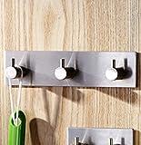Zehui Stainless Steel 3M Self Adhesive Hook Key Rack 3-Hook Rail Garage Storage Organizer Stick On Sticky Bathroom Kitchen Towel Hanger Wall Mount Contemporary Style Brushed Finish