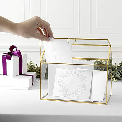 Cathy's Concepts Wreath Glass Terrarium Reception Gift Card Holder, Gold