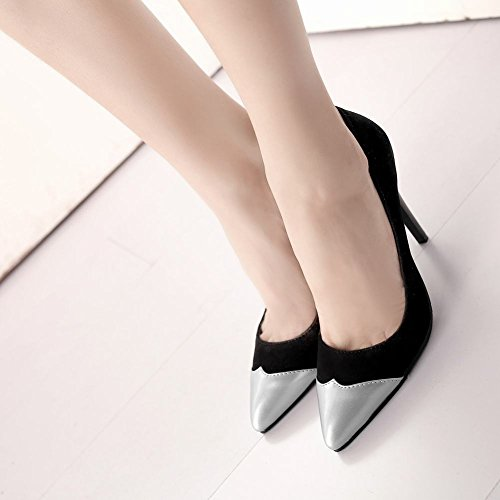 Womens Pumps Silver Sexy High Toe Party Heels Carolbar Pointed Shoes 1dgqnZZ