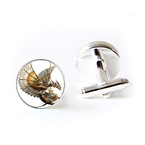LEO BON Mens Classy Cufflinks Steampunk Dragon Deluxe Wedding Business Cuff Links Movement Shirts Studs Button from LEO BON