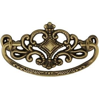 Victorian-Style Crown Brass Bail Pull 3 Center-to-Center in Antique Brass
