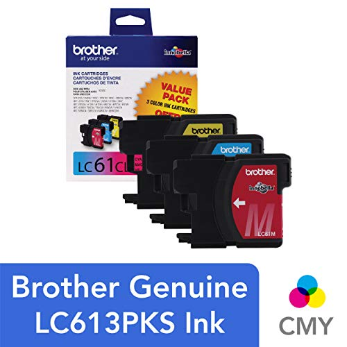 Brother Genuine Standard Yield Color Ink Cartridges, LC613PKS, Replacement 3 Pack of Color Ink, Includes 1 Cartridge Each of Cyan, Magenta & Yellow, Page Yield Up To 325 Pages/Cartridge, LC61