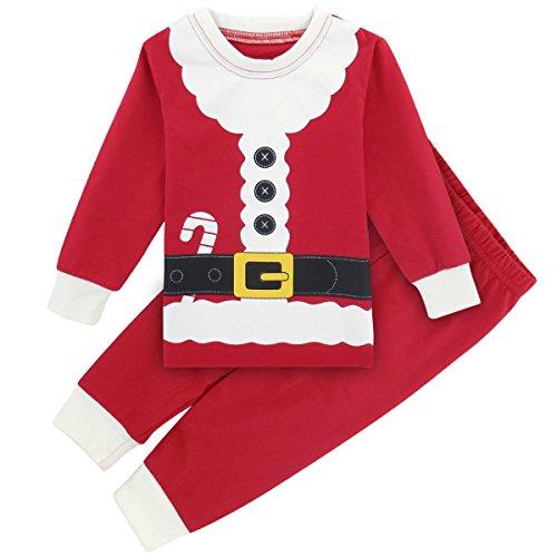 A&J DESIGN Toddler Boys' Christmas Pajamas PJS Set (2T, Santa -