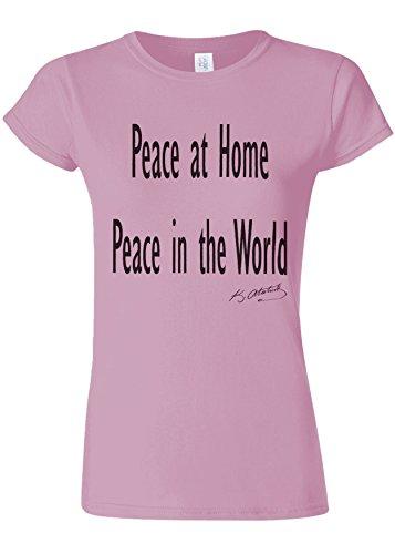 医療過誤または三角形Peace at Home Peace in the World Ataturk Quote Novelty Light Pink Women T Shirt Top-L
