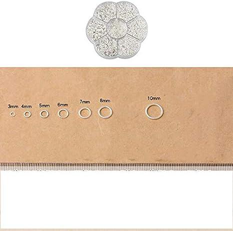 FLZONE 1450 Piezas Anillos Abiertos Anillo de Salto Abierto 3 MM a 10 MM para Collares de Conexi/ón,Fabricaci/ón de Joyas de Bricolaje-Plata