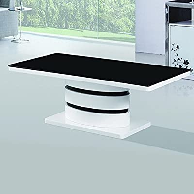 Amazon.com: Fab Glass And Mirror FGM BC125 B Modern Coffee, Dining Room  Glass Table, Black U0026 White: Kitchen U0026 Dining