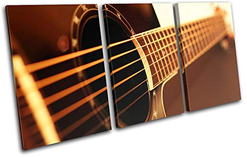 Bold Bloc Design - Guitar Instruments Acoustic Brown Musical 150x75cm Treble Canvas Art Print Box Framed Picture Wall Hanging - Hand Made in The UK - Framed and Ready to Hang RC-0988(00B)-TR21-LO-C