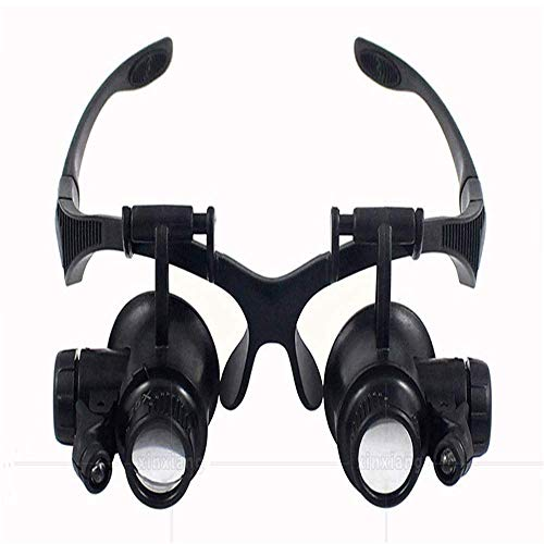 Loupe Magnifier 10X 15X 20X 25X Binoculars Magnifying Lens Kit Wearing Magnifying Glass Headphone Illuminating LED Lights Four Sets of Lens Replacement LIXFDJ Vision Assisted -