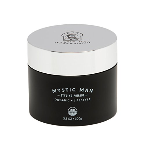 Organics Pomade (Mystic Man Styling Pomade & Beard Balm Oil – USDA Certified Organic with Sedr Extract – Hypoallergenic – Flexible Hold – 3.5 oz)