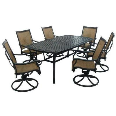 Black Modern 7 Piece Rust Resistant Aluminum Patio Dining Set Perfect Contemporary 6 Sling