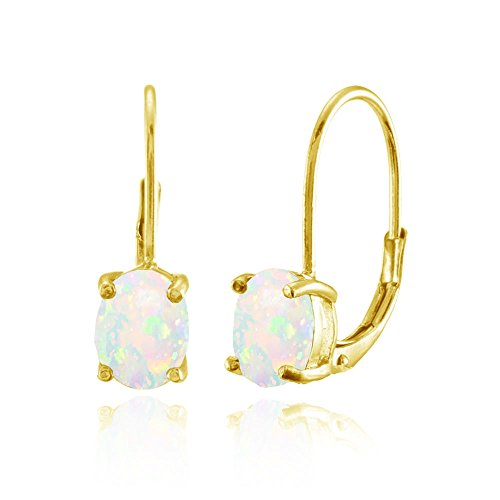 Gold Opal Bracelet (Yellow Gold Flashed Sterling Silver Simulated White Opal 8x6mm Oval Leverback Earrings)