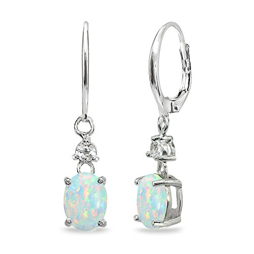 (Sterling Silver Simulated White Opal & Topaz 8x6mm Oval Dangle Leverback)