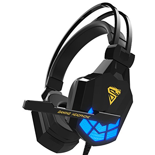 Kworld Over-ear Headphones, Lightweight PC Gaming Headsets with Deep Bass, Microphone Volume Control