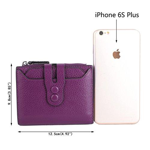 Ausverkauf-Yaluxe Damen RFID Blockierung Sicherheit Leder klein Billfold Geldbörse Kiesel lila Kiesel Leder lila