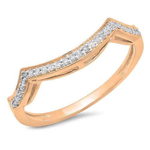 Dazzlingrock Collection 0.10 Carat (ctw) 10K White Diamond Ladies Wedding Contour Guard Ring 1/10 CT, Rose Gold, Size 7 by Dazzlingrock Collection (Image #1)